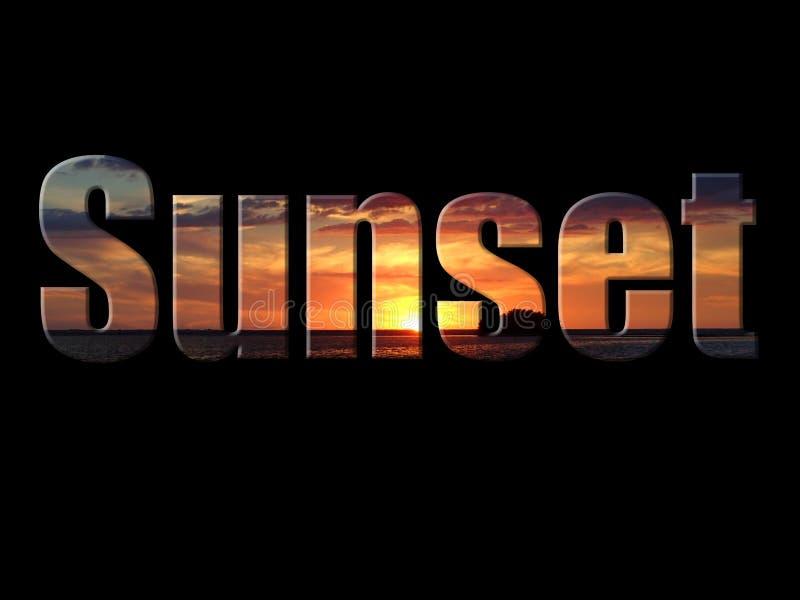 Una foto de una puesta del sol en la puesta del sol del texto fotografía de archivo