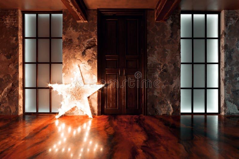 Una foto del interior de un edificio industrial recuperado viejo Luz de la estrella foto de archivo libre de regalías