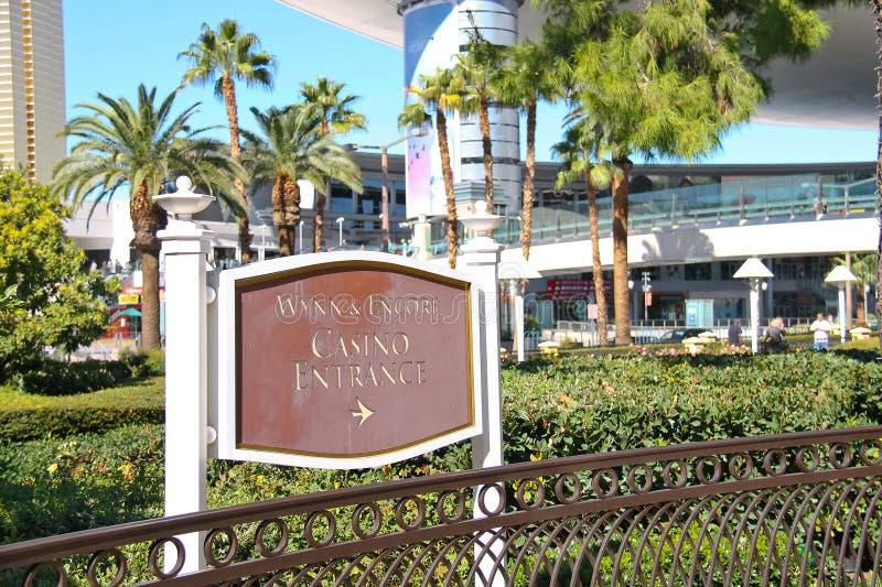 Una freccia di direzione nel casinò Wynn e bis a Las Vegas fotografia stock libera da diritti
