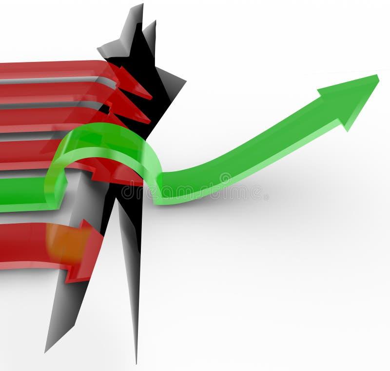 Una freccia salta sopra il foro, altri cade nel pozzo illustrazione di stock