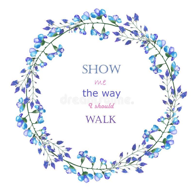 Una frontera del marco del círculo (guirnalda) de las flores azules de la campanilla ilustración del vector