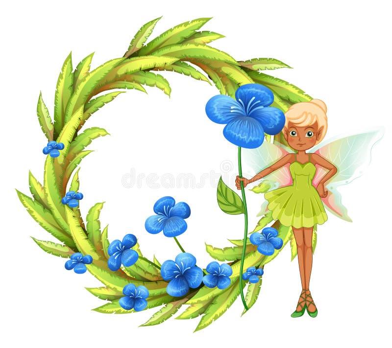 Una frontera frondosa redonda con una hada que sostiene una flor azul ilustración del vector