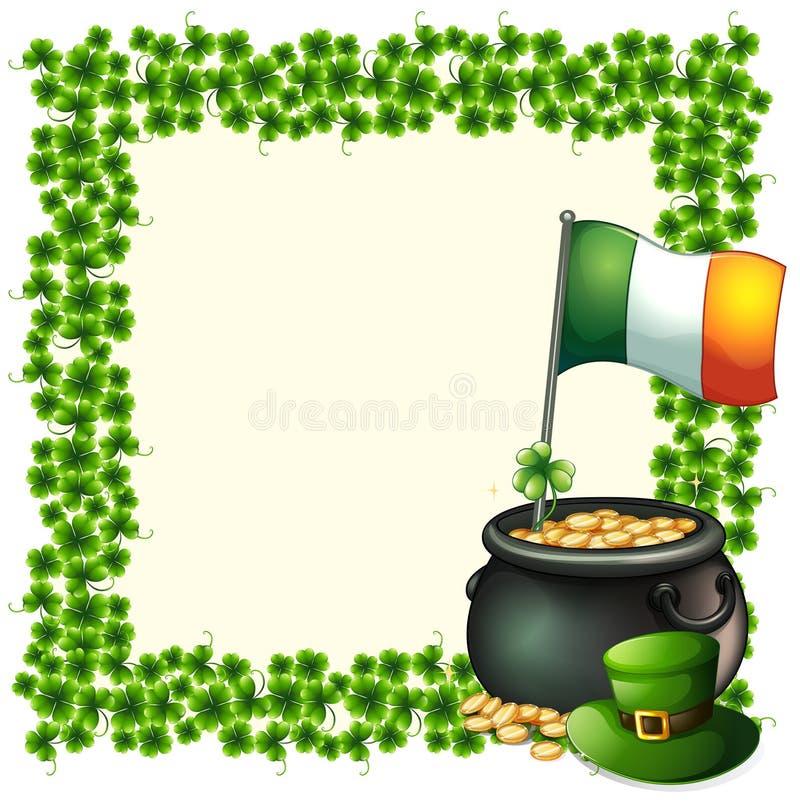 Una Frontera Verde Del Marco Con La Bandera De Irlanda Stock de ...