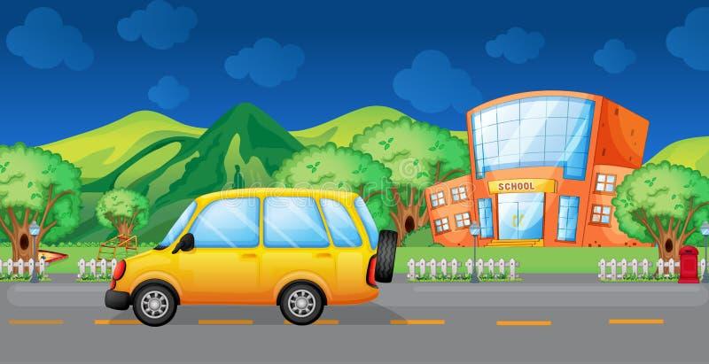 Una furgoneta amarilla en el camino ilustración del vector