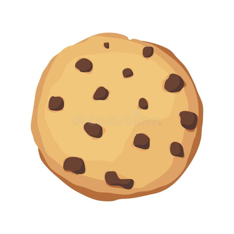 Una galleta de microprocesador de chocolate Icono de la galleta de Choco Ilustración del vector stock de ilustración