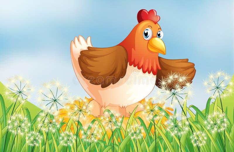 Una gallina que pone los huevos stock de ilustración