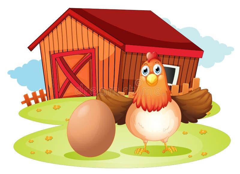 Una gallina y un huevo en el patio trasero ilustración del vector