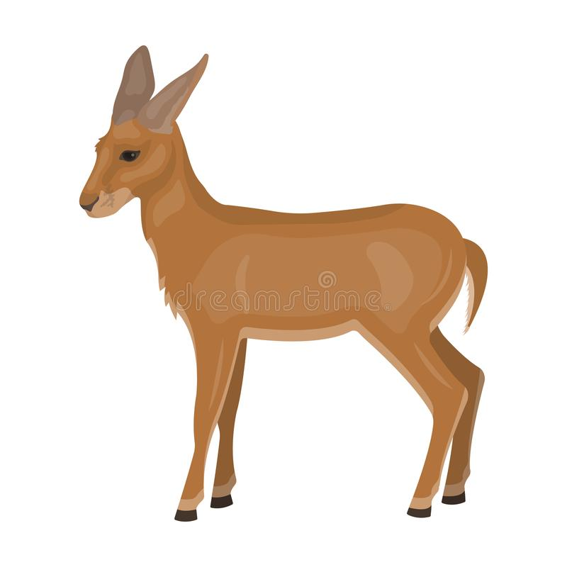 Una giovane, antilope selvaggia Un animale selvaggio-footed di singola icona dell'antilope nelle azione di simbolo di vettore di  royalty illustrazione gratis