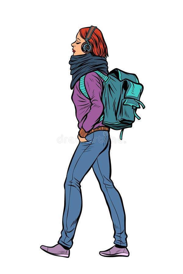 Una giovane donna con uno zaino d'avanguardia illustrazione di stock