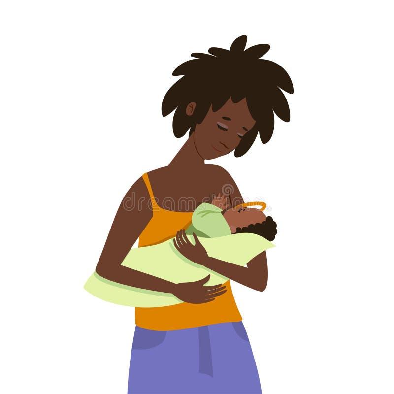 Una giovane donna dalla carnagione scura alimenta il suo bambino Isolato su priorit? bassa bianca Clip art royalty illustrazione gratis