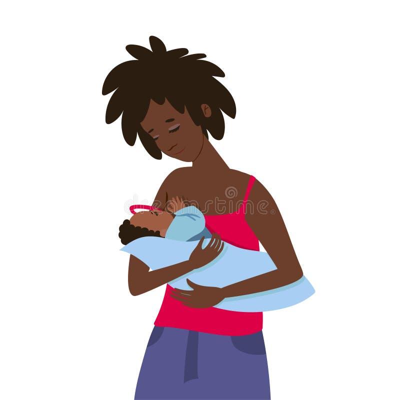 Una giovane donna dalla carnagione scura alimenta il suo bambino Isolato su priorit? bassa bianca Clip art illustrazione vettoriale