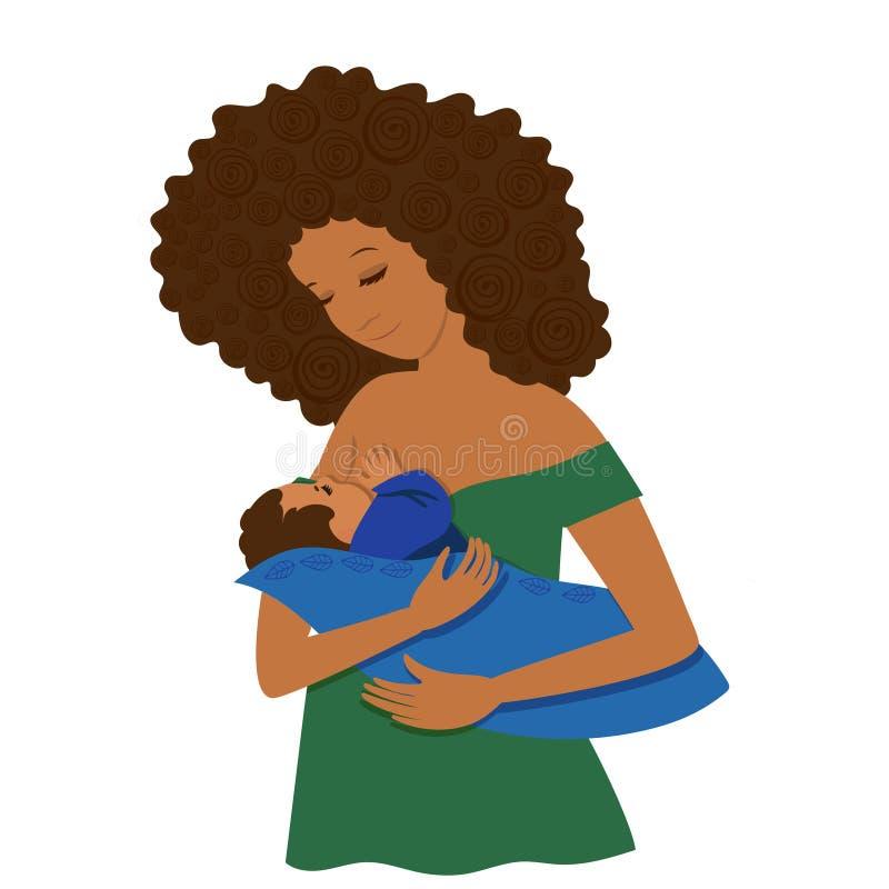 Una giovane donna dalla carnagione scura alimenta il suo bambino Isolato su priorit? bassa bianca Clip art illustrazione di stock