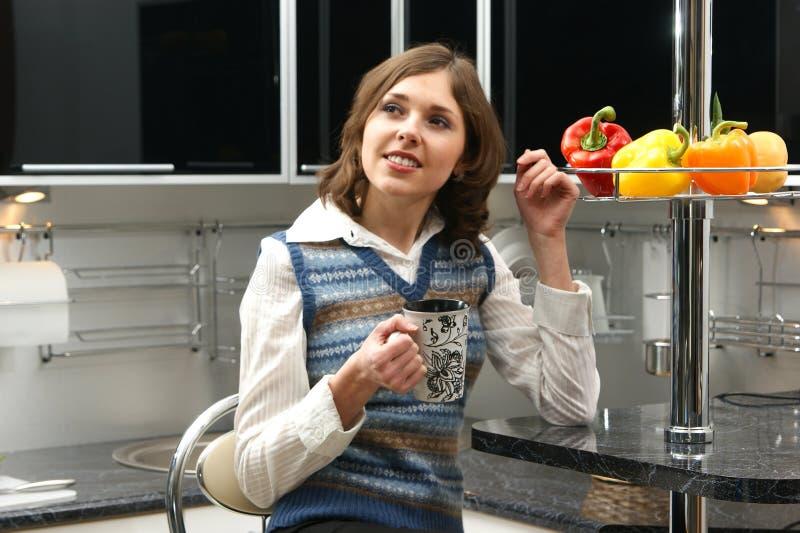 Una giovane donna del brunette in una cucina moderna immagine stock