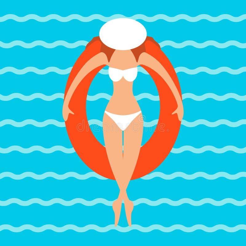 Una giovane donna in un bikini illustrazione di stock
