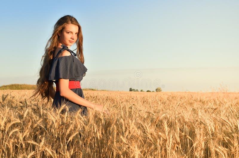 Una giovane e donna attraente con capelli unraised che stanno fra le orecchie nel campo fotografia stock