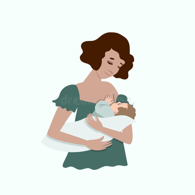 Una giovane madre sta allattando al seno il suo bambino Isolato su fondo bianco Clip art illustrazione di stock
