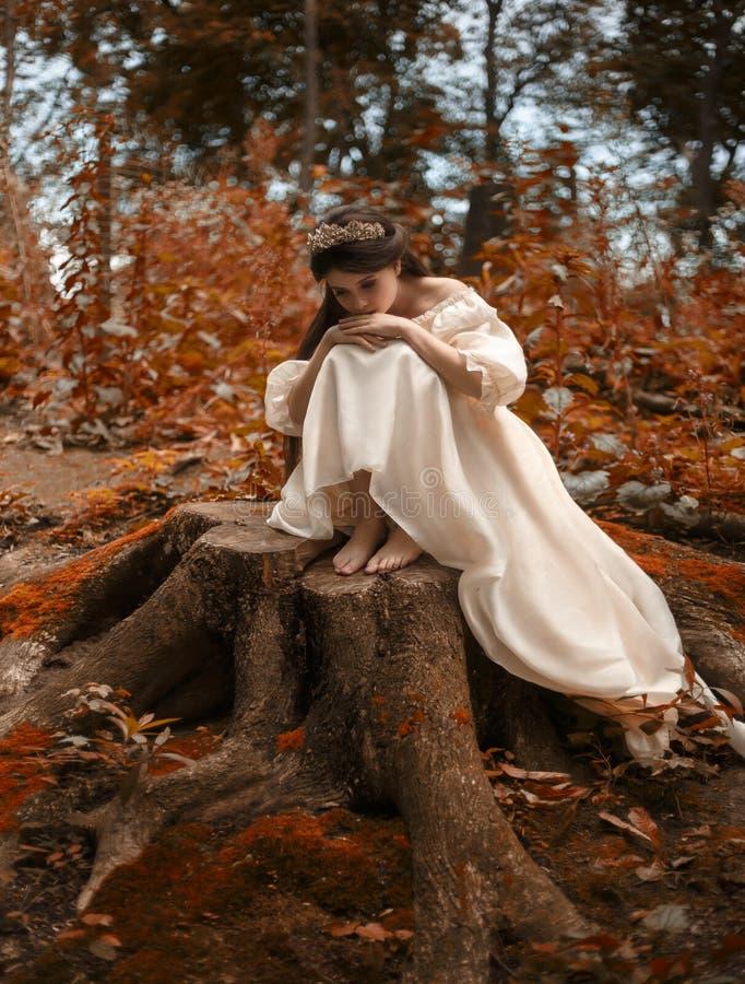 Una giovane, principessa triste con capelli molto lunghi si siede su un grande ceppo di vecchio albero ed aspetta il suo principe immagini stock libere da diritti