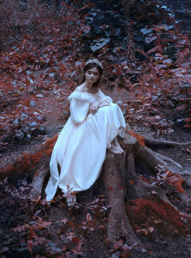 Una giovane, principessa triste con capelli molto lunghi si siede su un grande ceppo di vecchio albero ed aspetta il suo principe fotografia stock libera da diritti