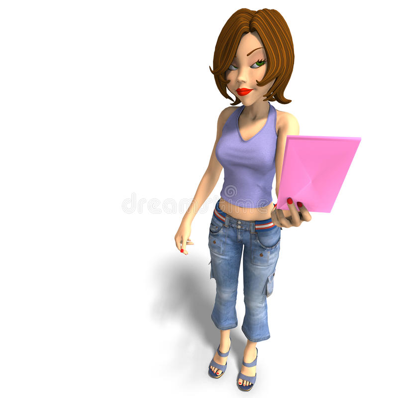Una giovane ragazza di Toon passa una lettera sopra voi illustrazione vettoriale