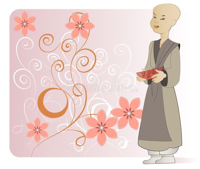 Una giovane rana pescatrice buddista illustrazione di stock