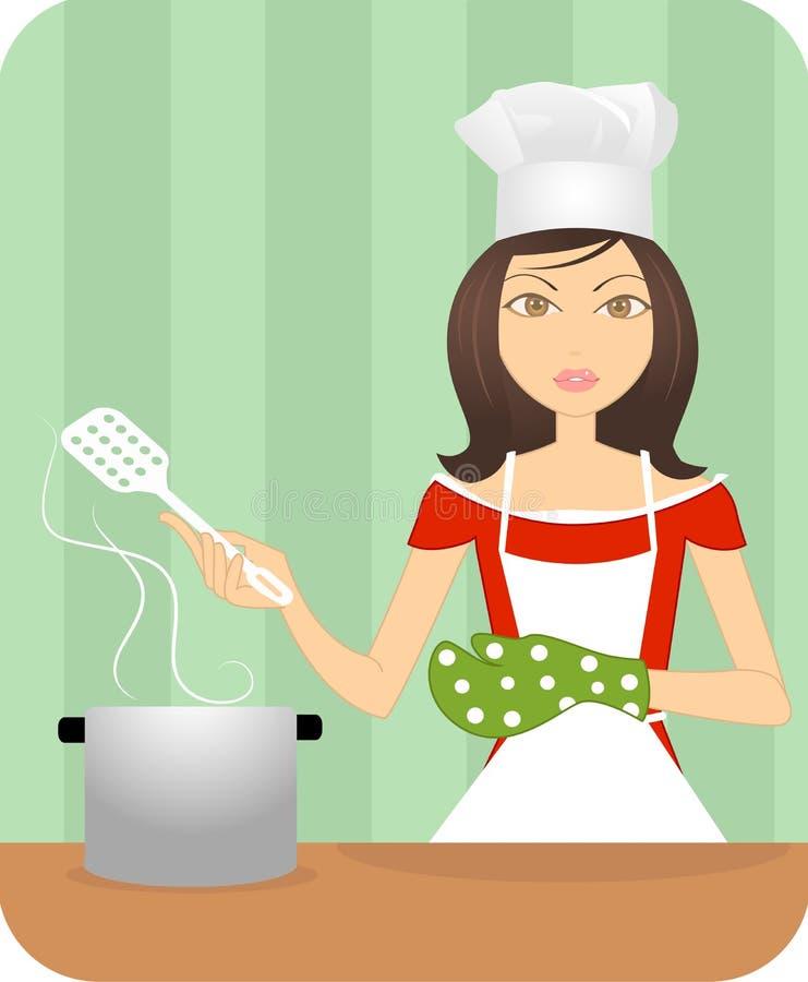 Una giovane signora attraente che cucina nella cucina royalty illustrazione gratis