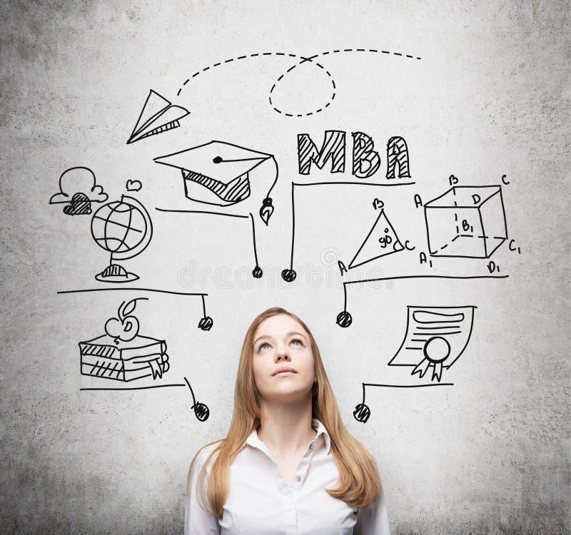 Una giovane signora sta pensando al grado di MBA Il grafico educativo è tracciato dietro lei Un concetto di più universitario di  royalty illustrazione gratis