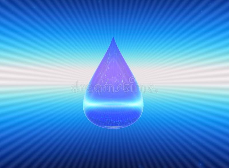 una goccia del simbolo H2O dell'acqua illustrazione 3D illustrazione di stock