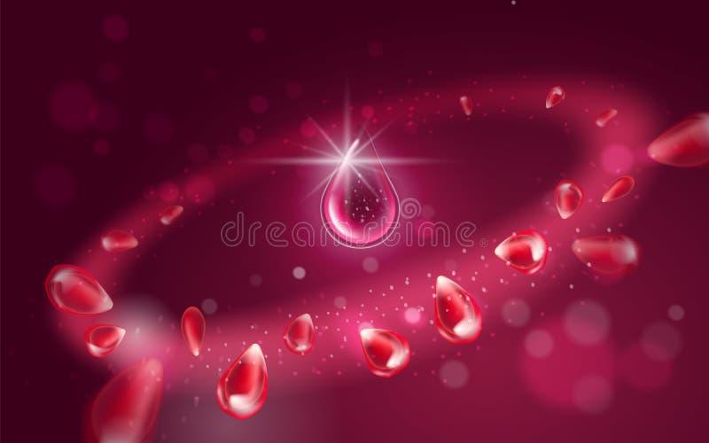 Una goccia dell'essenza dell'olio Effetto radiale luminoso con gli elementi di volo della frutta del melograno con le particelle  royalty illustrazione gratis