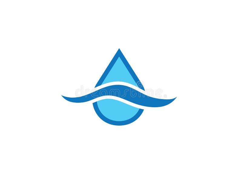 Una goccia delle cadute dell'acqua nel lago per l'illustrazione di progettazione di logo illustrazione di stock