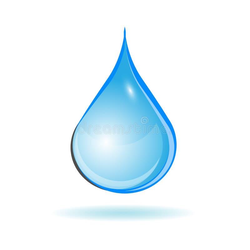 Una goccia di acqua blu su fondo bianco illustrazione vettoriale