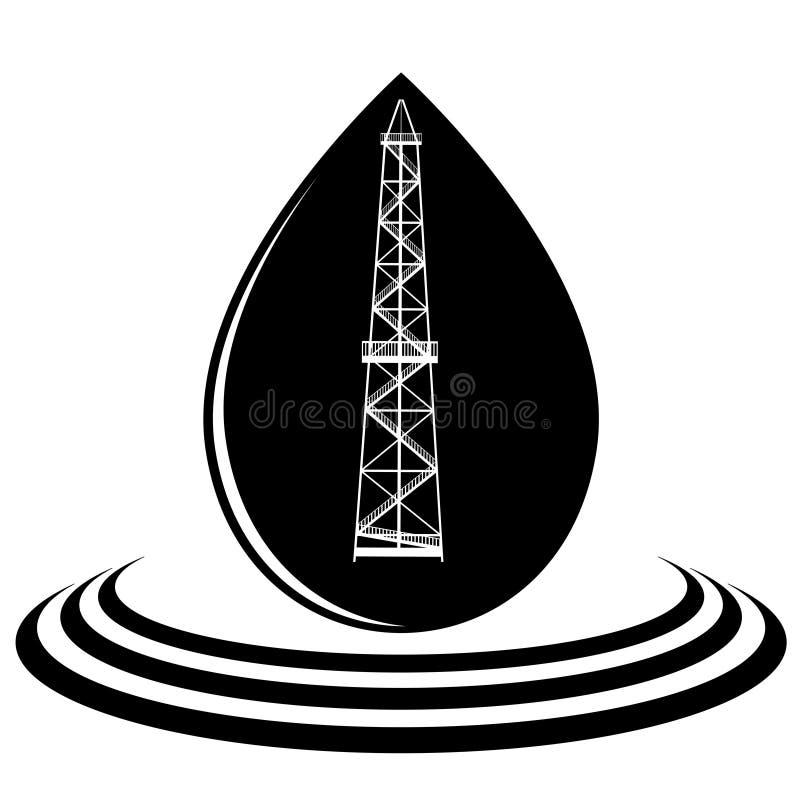Una goccia di olio e dell'impianto offshore illustrazione di stock