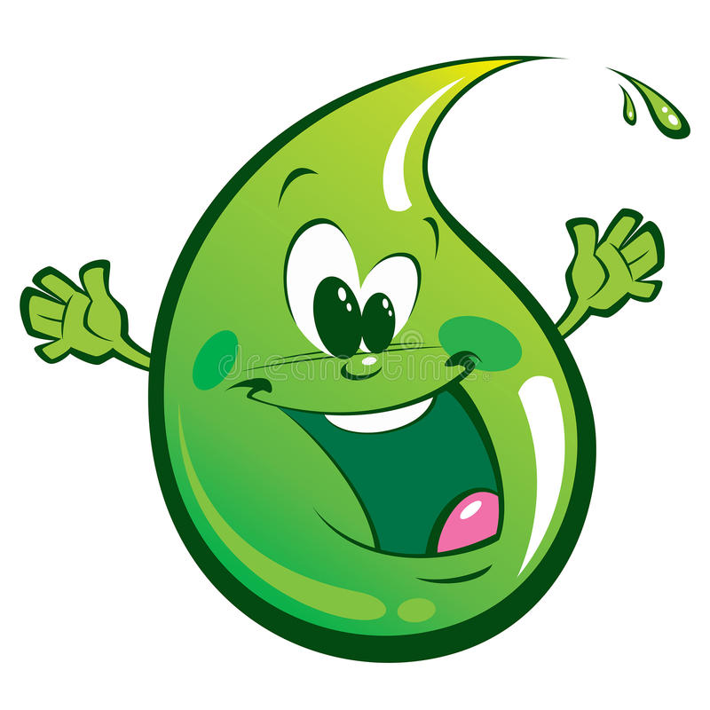 Goccia felice verde illustrazione vettoriale