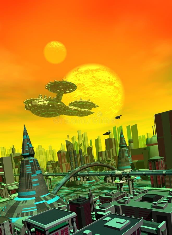 Una grande astronave sopra la città illustrazione di stock