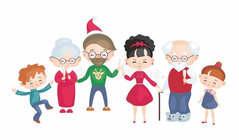 Una grande famiglia celebra il Natale illustrazione vettoriale