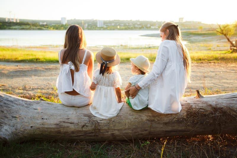 Una grande famiglia lesbica con i bambini La famiglia si siede con le loro parti posteriori alla macchina fotografica su un ceppo fotografia stock