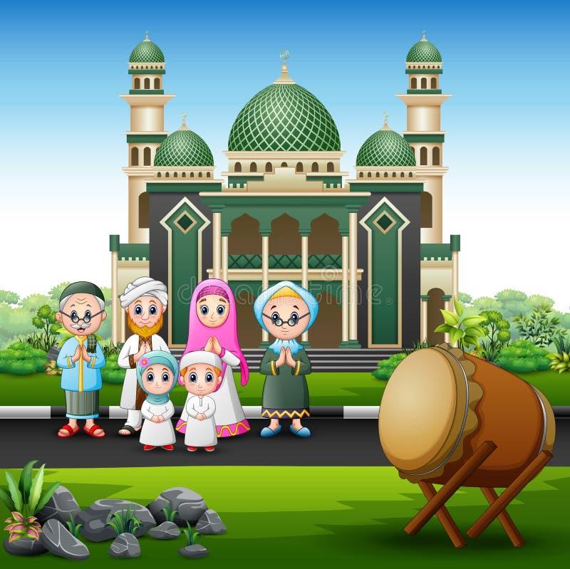 Una grande famiglia musulmana nella parte anteriore la moschea illustrazione di stock