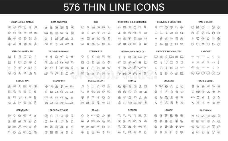 Una grande raccolta 576 della linea sottile icona Icone di Web Affare, finanza, seo, acquisto, logistica, medica, salute, la gent illustrazione di stock