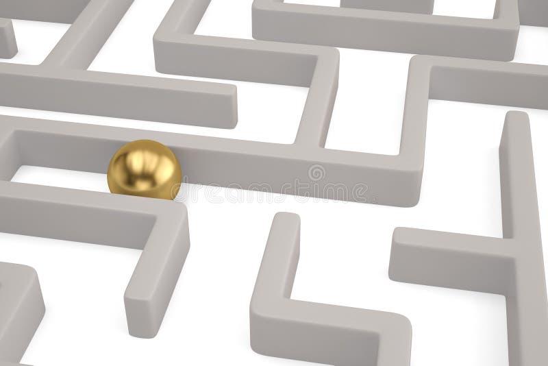 Una grande sfera dell'oro dentro un labirinto bianco illustrazione 3D royalty illustrazione gratis