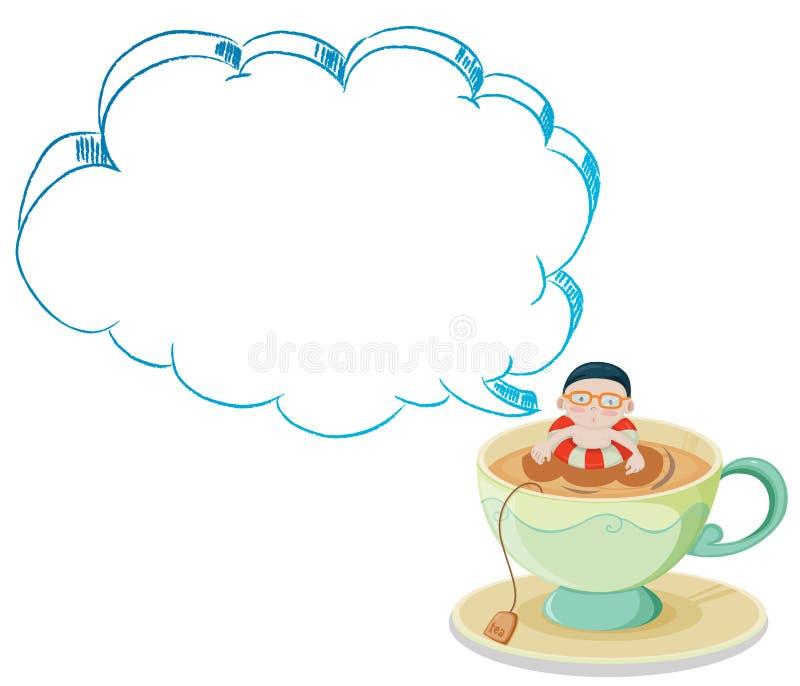 Una grande tazza con un nuoto del ragazzo illustrazione di stock