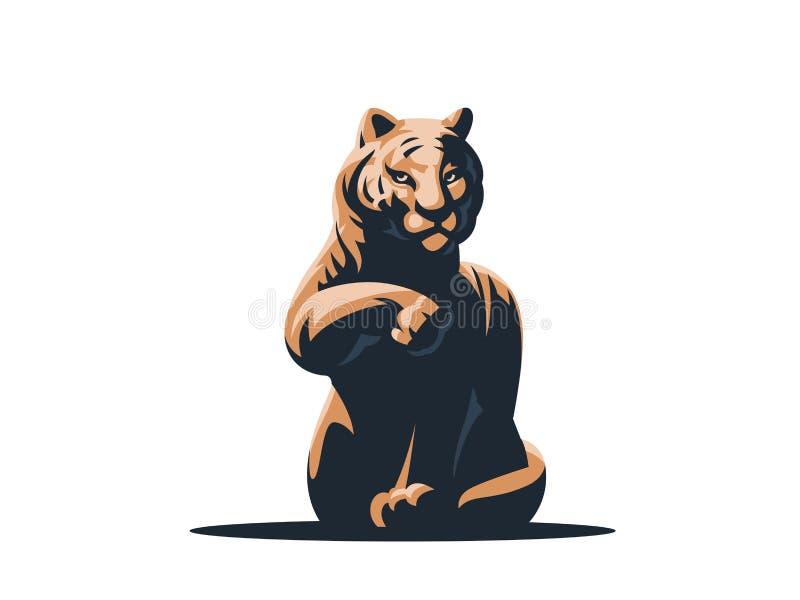 Una grande tigre sta lavando royalty illustrazione gratis