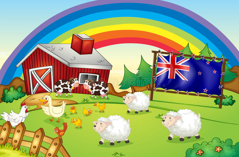 Una granja con un arco iris y un aflag de Nueva Zelanda ilustración del vector