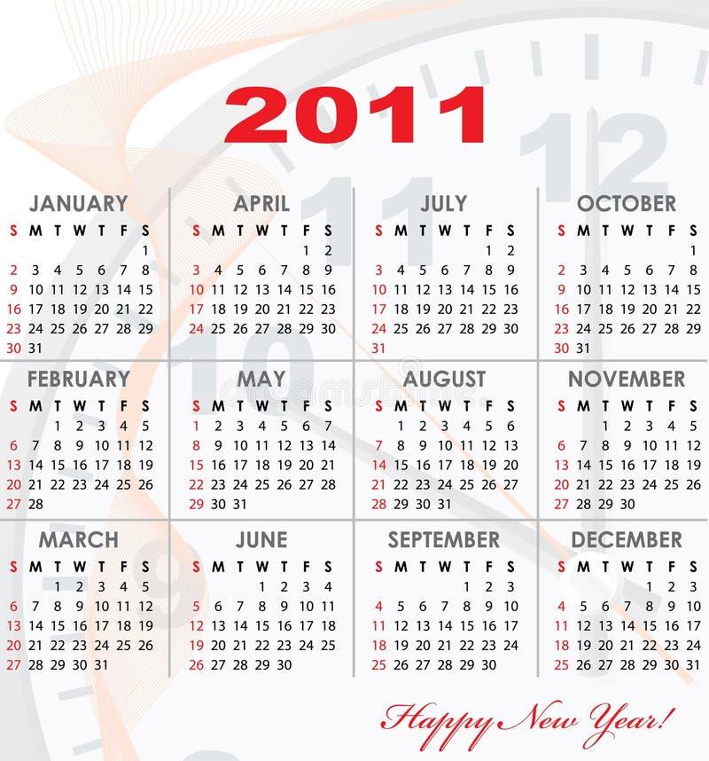 Una griglia del calendario di 2011 anno illustrazione di stock