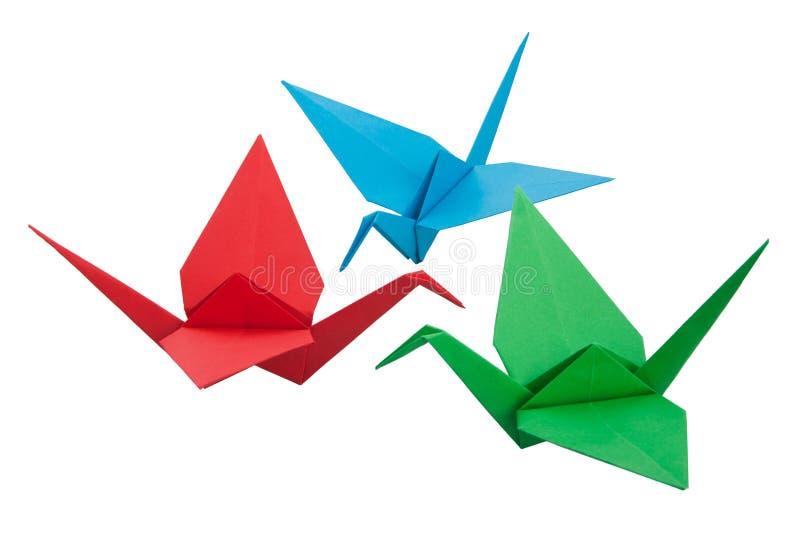 Una gru di tre origami immagine stock libera da diritti
