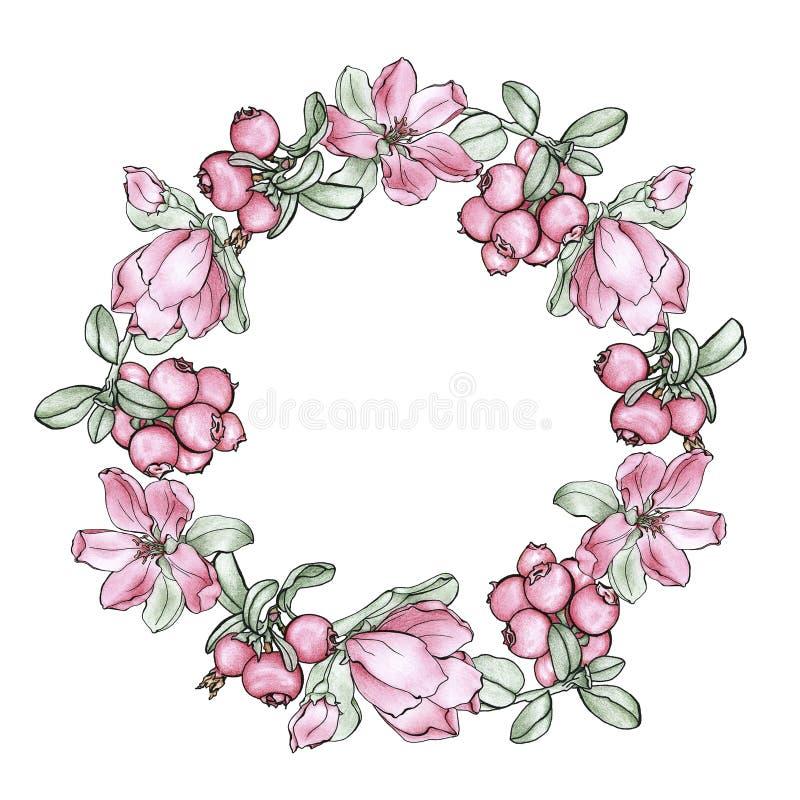 Una guirnalda de flores y de bayas imágenes de archivo libres de regalías