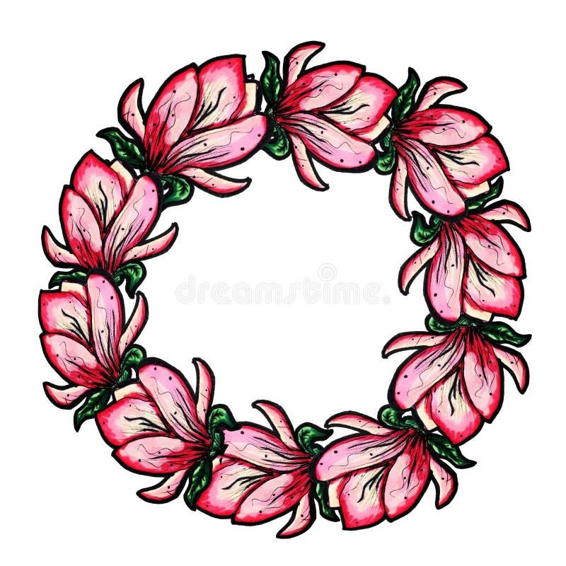 Una guirnalda de la magnolia floreciente en un fondo blanco aislado Decoraci?n por un d?a de fiesta Guirnalda de la flor Copie el ilustración del vector