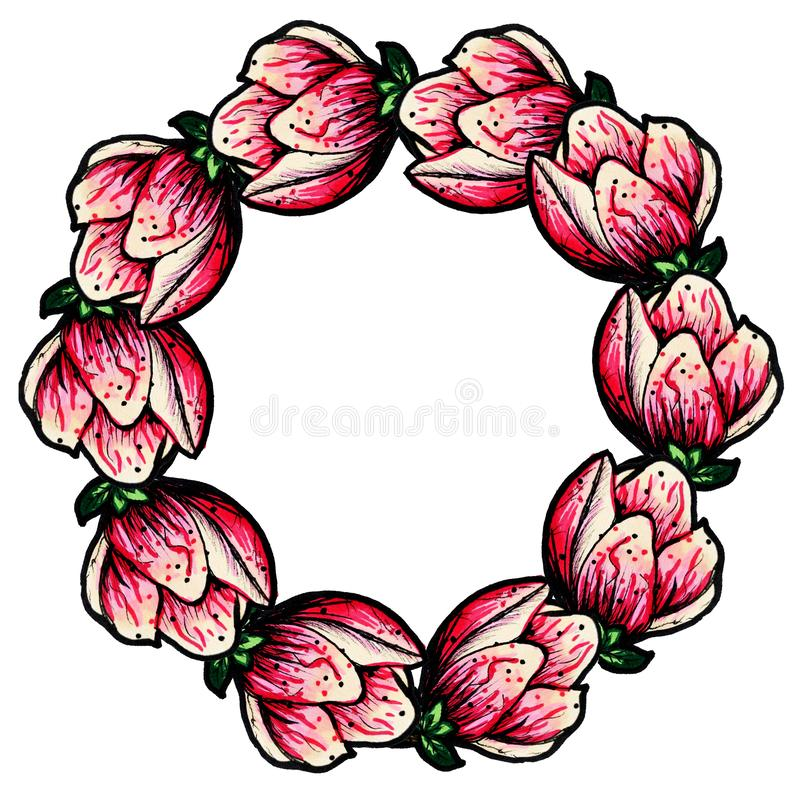 Una guirnalda de la magnolia floreciente en un fondo blanco aislado Decoraci?n por un d?a de fiesta Guirnalda de la flor Copie el stock de ilustración