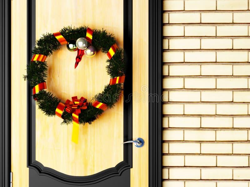 Una guirnalda de la Navidad en puerta ilustración del vector