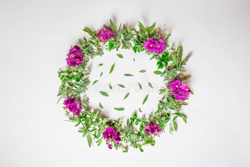 Una guirnalda de violetas en un fondo blanco Marco redondo de flores p?rpuras y de la hierba fresca Flores del verano Endecha pla stock de ilustración