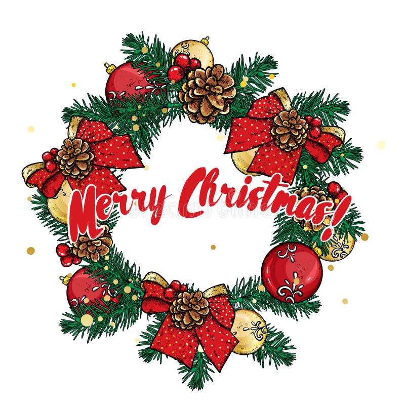 Una guirnalda hermosa de la Navidad hecha de ramas del abeto, adornado con las bolas, los arcos y los conos Ilustración del vecto libre illustration