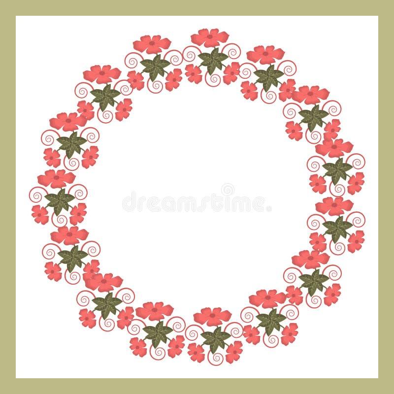 Una guirnalda redonda floral de flores coralinas de moda dulces tales como amapolas libre illustration